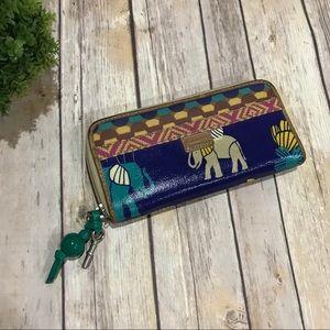 Fossil | EUC Key•Per Elephant Print Zipper Wallet